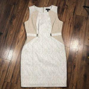 Dana Buchman white tan sheath dress 12